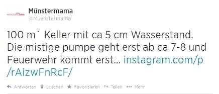 Twittermeldung von Münstermama zum Regen in Münster
