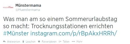 Twittermeldung Münstermama am nächsten Tag