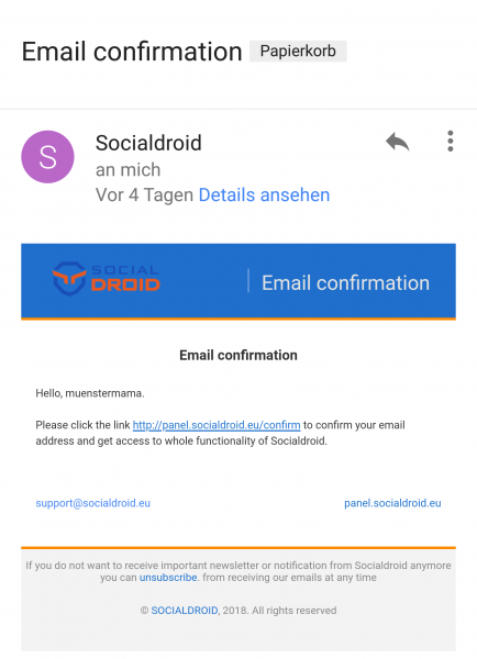 E-Mail Socialdroid Social Bot Angriff Versuch Cyber-Mobbing Schutz Privat Eltern Familie Kinder Schützen Münstermama