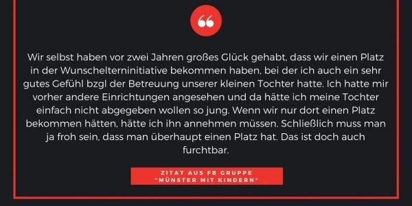 Zitat 1 Münster Eltern Kita Platz Notstand Kindergarten Grundschule Betreuungsplatz Jugendamt Stadt Vergabeverfahren Protest