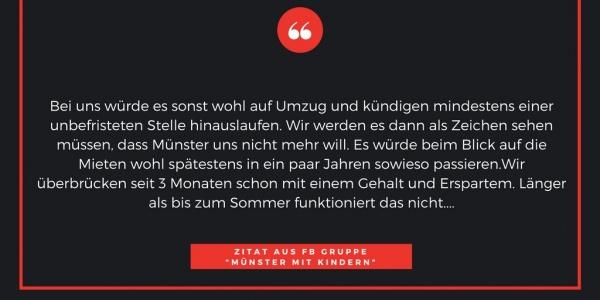 Zitat 4 Kita-Navigator Münster Eltern Kita Platz Notstand Kindergarten Grundschule Betreuungsplatz Jugendamt Stadt Vergabeverfahren Protest Wohnungsmarkt Einkommenseinbußen