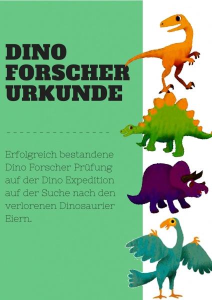 Dino Forscher Urkunde Kindergeburtstag Palentologe