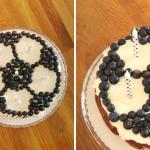 Fußball Kindergeburtstagstorte Brownie Frischkäse Käsekuchen Blaubeeren Heidelbeeren Rezept