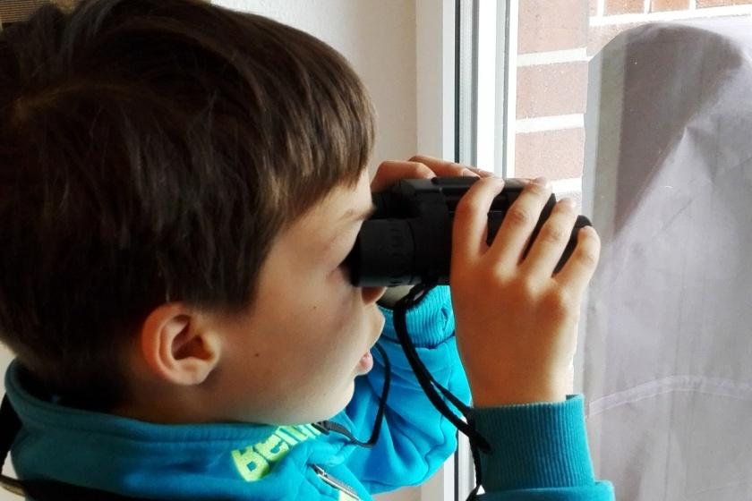 Fernglas Nikon Singvögel beobachten Familie Vater und Sohn Münstermama