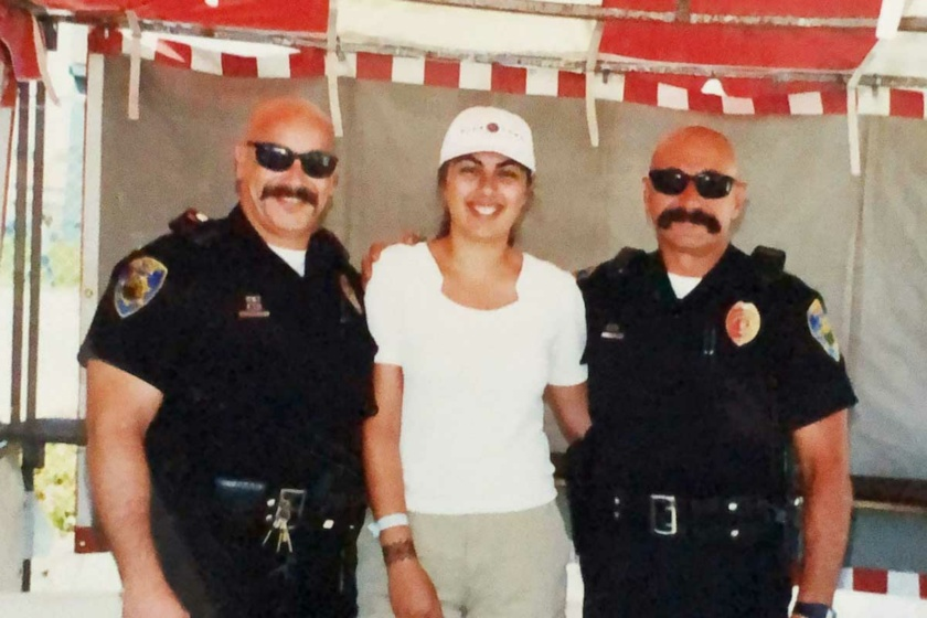 Police with Moustache and Leila in the middle