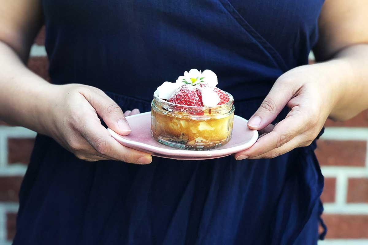 Quark-Keks Kuchen im Glas