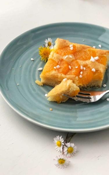 Kuchen Mandarinen-Blechkuchen-Mandarinenschnitten