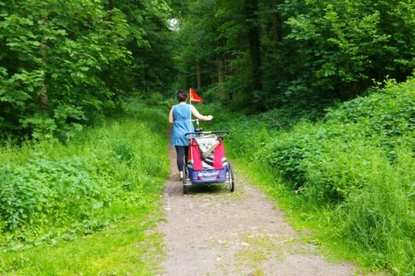 Fahrradfahren mit Anhänger durch Wald auf Radweg familienfreundlich