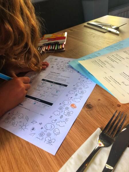 Kinderfreundliches Restaurant in Havixbeck: Das Lauschig: Die Kinder bekommen eine eigene Kinderkarte zum Ausmalen